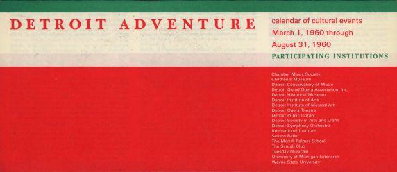 Detroit Adventure, Calendar of Cultural Events, 1960