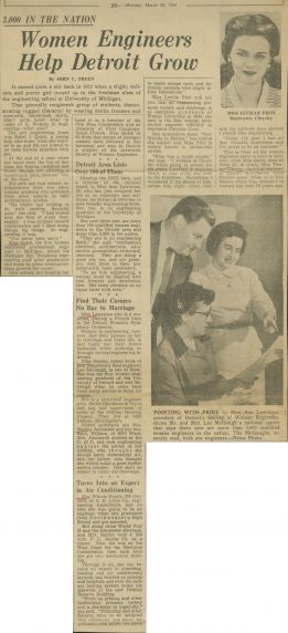 Article, Women Engineers Help Detroit Grow, 1954