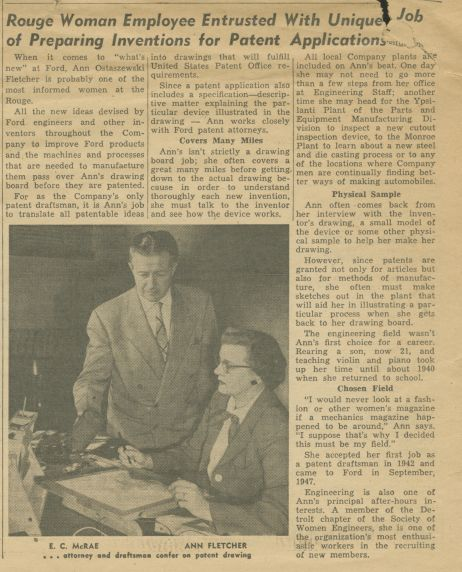 Ann Fletcher, Ford Rouge Patent Draftsman, 1954