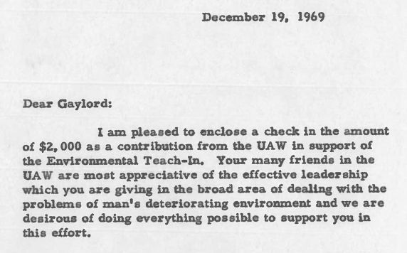 Letter from Walter P. Reuther to Senator Gaylord Nelson