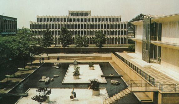College of Education and McGregor Memorial Conference Center Reflecting Pool, 1961