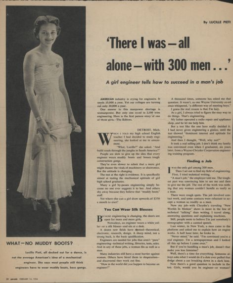 Lucille Pieti, All Alone With 300 Men, 1954