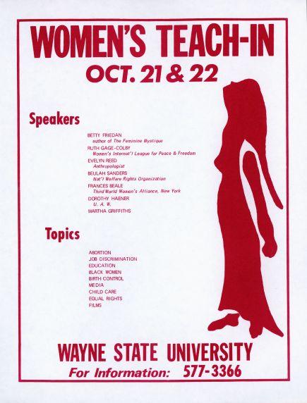 Women's Teach-In at Wayne State University: flyer, 1970