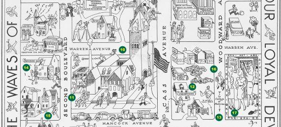 Wayne University Illustrated Map, 1939 (detail)