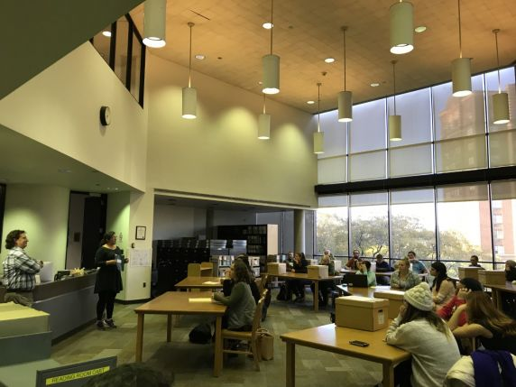 Students in the Reuther reading room