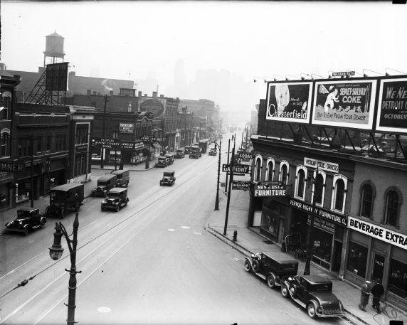 (vmc10489) Michigan Avenue, Before widening, Detroit, 1930